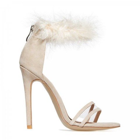 EGO Peace Perspex Detail Fluffy Strap Heel In Nude Faux Suede – pale pink fur sandals – high heels – going out shoes – party footwear