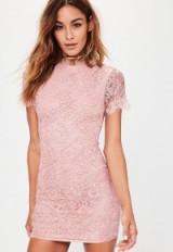 Missguided pink cornelli lace short bodycon dress – short sleeve mini dresses