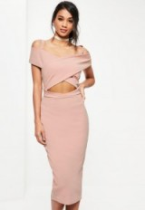 Missguided pink crepe bardot strap detail midi dress – cut out party dresses – off the shoulder going out fashion