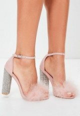 missguided pink glitter and feather block heel sandals ~ fluffy ankle strap shoes