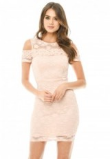 AX PARIS PINK LACE CUT OUT SHOULDER FITTED DRESS ~ fitted party dresses ~ going out bodycon fashion ~ cold shoulder style