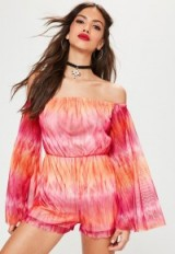 Missguided pink mesh flare long sleeve bardot tie dye playsuit – boho babe – off the shoulder playsuits – festival clothing – bohemian summer fashion