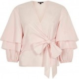 River Island Pink puff frill sleeve tie front top ~ frilly tops ~ feminine ~ pretty ~ layered sleeves