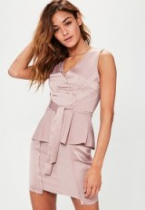 Missguided pink raw edge satin tie cami top – belted sleeveless tops
