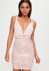 Missguided pink slinky foil pleated tie multiway bodycon dress – plunge front party dresses – going out glam – evening glamour