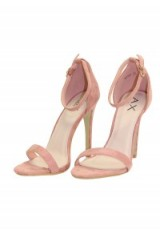 AX PARIS PINK SUEDE BARLEY THERE HEELS ~ high heels ~ strappy evening shoes ~ ankle strap