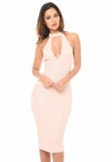 AX PARIS PINK TEXTURED HIGH NECK BODYCON DRESS ~ plunge front party dresses ~ choker style evening fashion ~ fitted ~ plunging neck