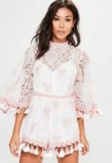 Missguided pink three quarter tassel playsuit – pretty boho playsuits – tasseled summer fashion – bohemian