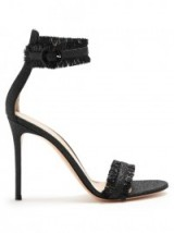 GIANVITO ROSSI Portofino fringe-trimmed sandals – chic high heels – fringed barely there high heels – designer shoes