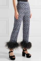 PRADA Feather-trimmed printed crepe de chine straight-leg pants – as worn by Katy Perry attending a Pre-MET gala dinner in New York, 30 April 2017. Celebrity trousers | star style fashion