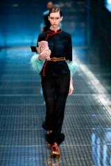 PRADA Feather-trimmed black silk-chiffon trousers. Sheer pants   designer fashion