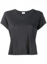 RE/DONE Cropped Boxy Hanes 'Perfect' T-Shirt. Grey short sleeve t-shirts   womens round neck tee   designer tees
