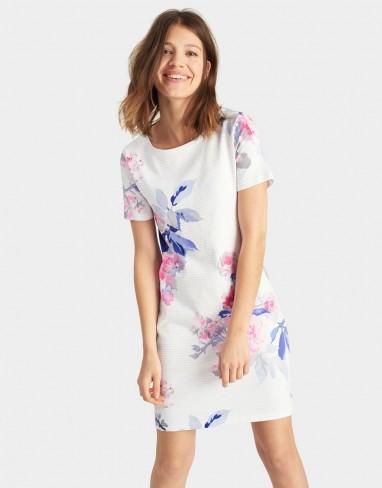 Joules Riviera Printed Jersey T Shirt Dress White Beau