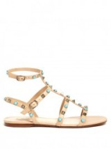 VALENTINO Rockstud Rolling leather flat sandals nude. Summer flats | turquoise stone studded holiday shoes | embellished flat gladiator | strappy | ankle strap