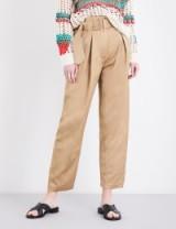 SANDRO Wide-leg cropped linen trousers. Camel crop leg pants   designer fashion