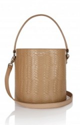 meli melo santina mini bucket bag light tan large woven – small chic bags – cylindrical leather handbags – wicker print crossbody – top handle