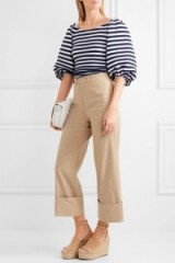 SEA Cropped stretch-canvas wide-leg pants beige. Cropped trousers   neutral crop trouser