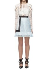 $289.00 Self Portrait Frill Shoulder Panel Mini Dress