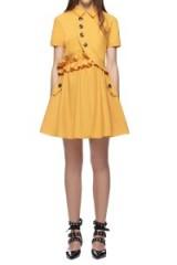 $269.00 Self Portrait Mustard Button Shirt Mini Dress