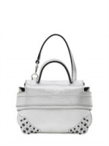 TOD'S MICRO WAVE METALLIC LEATHER BAG – small luxe silver handbags – luxury mini top handle bags – designer accessories