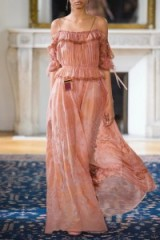 VALENTINO Off-the-shoulder ruffled printed silk-chiffon gown in pink – as worn by Olivia Palermo for a fashion shoot in the April 2017 edition of Elle Spain. Celebrity photoshoot fashion | star style dresses | designer gowns