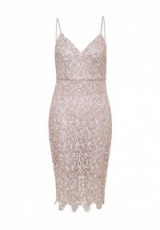 AX PARIS V NECK CROCHET MIDI DRESS ~ pink strappy evening dresses ~ thin strap going out fashion ~ fitted ~ party bodycon