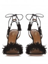 AQUAZZURA Wild Thing fringed suede sandals – chic black shoes – ankle wrap – fringe sandal – tasseled ankle ties – strappy high heels