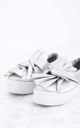 Pretty Little Thing WREN SILVER BOW FLATFORM PUMPS. Flatforms   casual flats   flat shoes