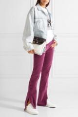 3X1 Velvet bootcut pants. Slit hem trousers   berry   purple-plum   casual fashion