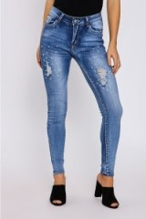 In The Style ALEESHA MID WASH PEARL EMBELLISHED SKINNY JEANS