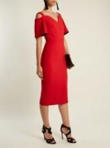 ROLAND MOURET Alton open-shoulder crepe midi dress