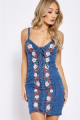 In The Style AMARISS MID WASH LACE UP EMBROIDERED DENIM DRESS