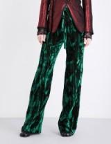 ANN DEMEULEMEESTER Wide-leg crushed-velvet trousers   emerald-green trousers
