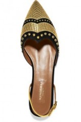 AQUAZZURA Marrakech studded embroidered suede point-toe flats
