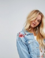 Bershka Embroidered Cropped Denim Jacket   floral jackets