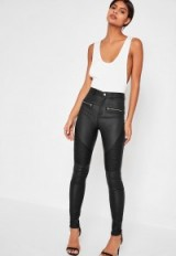 Missguided black sinner coated biker skinny jeans