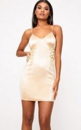 Pretty Little Thing CHAMPAGNE STRETCH SATIN LACE UP BODYCON DRESS