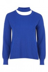 Olivia Palermo blue Choker Crew Knit Jumper by TopShop, out in New York, June 2017. Celebrity jumpers | star style sweaters | knitwear