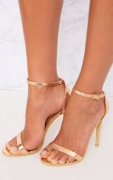 Pretty Little Thing CLOVER ROSE GOLD STRAP HEELED SANDALS