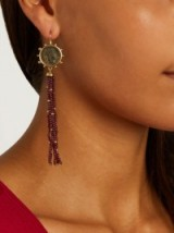 DUBINI Constantine garnet, bronze & yellow-gold earrings ~ coin jewellery