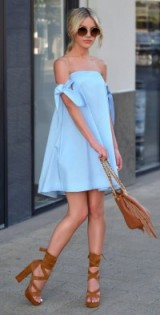Pale blue bardot dress with tan accessories | summer street style