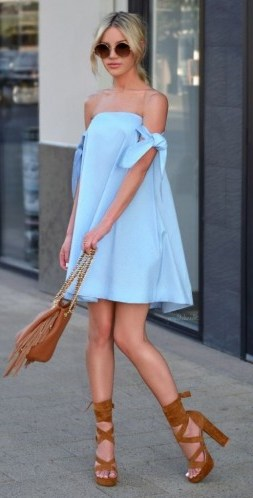 Pale blue bardot dress with tan accessories | summer street style - flipped