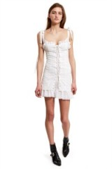 OPENING CEREMONY Daisy WHITE BRODERIE LACE-UP CORSET DRESS – as worn by Kendall Jenner out in New York, 3 June 2017. Celebrity strapless dresses | star style fashion | models off duty USA
