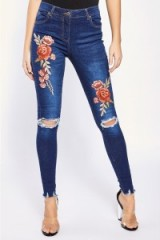 In The Style DARBIE DARK WASH FLORAL APPLIQUE SKINNY RIPPED JEANS