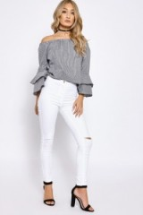 DARIELLA WHITE HIGH WAISTED RIP KNEE JEANS   In The Style denim
