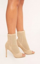 Pretty Little Thing DONNA NUDE KNITTED PEEP TOE SOCK BOOTS