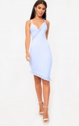 Pretty Little Thing DUSTY BLUE FRILL DETAIL MIDI DRESS, fitted evening dresses, going out bodycon dresses, uneven hemline