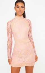 Pretty Little Thing DUSTY PINK LACE HIGH NECK BODYCON DRESS