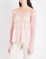FENTY X PUMA Cold shoulder mesh top silver pink