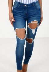 Pink Boutique Front Row Indigo Distressed Skinny Jeans